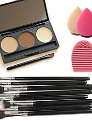 3 couleurs anticernes visage palette + 8pcs outil de nettoyage des brosses + brosse + feuilletée maquillage beauté fondation oeuf