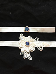 Garter Stretch Satin Flower/Rhinestone White