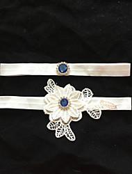 Подвязка Стреч-сатин Цветок Стразы Белый