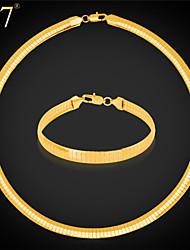 U7® Unisex's Wide Snake Chain Bracelet 316L Stainless Steel/18K Real Gold Plated Vintage Choker Necklace Set