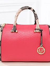 Women PU Duffel Shoulder Bag / Tote - White / Pink / Blue / Red / Black