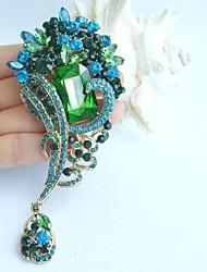 4.72 Inch Gold-tone Blue Green Rhinestone Crystal Flower Brooch Pendant Art Decorations