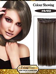 sintética natural a largo recto y clip en la extensión del pelo con 5 clips (más colores)