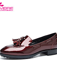 MeiRie'S Women's Shoes Patent Leather Low Heel Round Toe/Closed Toe Athletic Shoes Casual Black/Red