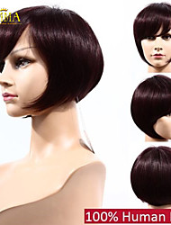 100% Human Hair Bob Wigs for Black Women 99j Burgundy Color African American Wig