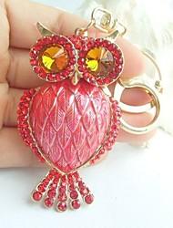 Charming Bird Owl Key Chain With Red Rhinestone Crystals