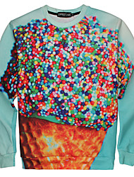 Men's High Quality Creative Lovely Colorful Pattern Stereo Fashion Personality 3D Sweater——Ice Cream