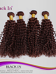 "4 Pcs Lot 12""-30"" Brazilian Kinky Curl Virgin Hair Wefts Chocolate Brown Remy Human Hair Weave Tangle Free"