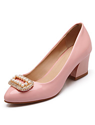 Women's Shoes Patent Leather Chunky Heel Heels/Round Toe Pumps/Heels  /Party & Evening/Dress/Casual Black/Pink/Beige