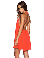 Women's Sexy Halter Backless Chiffon Dress