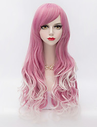 Harajuku Fashion Long Wavy Side Bang Hair Red Gradient White Synthetic Lolita  Women Wig