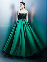 A-Line Strapless Floor Length Lace Satin Prom Formal Evening Dress with Bow(s) Lace by TS Couture®
