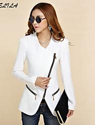 Women's Long Sleeve Cotton Zipper Blazer