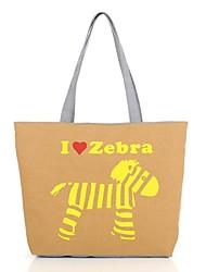 Women's Fashion The Zebra Print Canvas Shopper Shoulder Bag/Tote