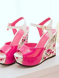 Women's Shoes Black/Blue/Red Wedge Heel Sandals (PU)