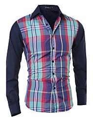 Masculino Camisa Social Casual Simples Primavera / Outono,Estampa Colorida Azul / Verde Algodão Colarinho de Camisa Manga Longa Média