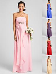 Vestido de Dama de Honor - Rosa Caramelo Corte Recto Strapless - Hasta el Suelo Gasa Tallas grandes