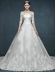 A-line Wedding Dress Floral Lace Chapel Train Off-the-shoulder Tulle with Appliques