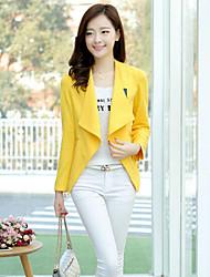 Women's Long Sleeve Blazer , Cotton Blends Regular Casual/Party/Work