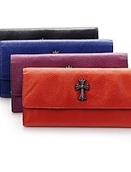 Women Casual Cowhide Button Clutch/Wallet/Black/Royal blue/Orange/Purple