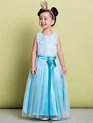 A-line Floor-length Flower Girl Dress - Lace / Tulle Sleeveless Scoop with Bow(s) / Crystal Detailing / Lace