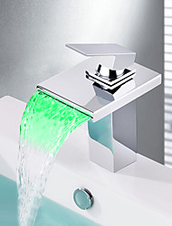 Contemporain Set de centre LED Cascade with  Soupape céramique Mitigeur un trou for  Chrome , Robinet lavabo