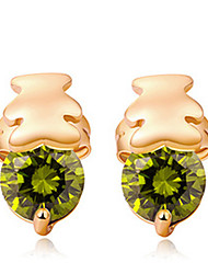 Maria Women's Korean-style Good Quality 18K Gold-plated Jewelry Inlaid Zircon Clip Earrings