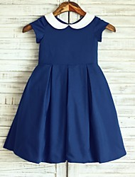 Navy blue Peter Pan Neckline  Knee-length Flower Girl Dress - Cotton Short Sleeve