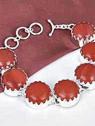 melhor preço Fire Fire rodada naturais vermelhas jasper jóia 0,925 prata pulseiras pulseiras corrente de ligação para festa de casamento