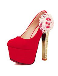 Calçados Femininos Camursa Salto Agulha Arrendondado Plataformas / Saltos Social Preto/Vermelho