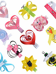 12 Pcs Animal Scilpture Grosgrain Ribbon Flower Combination Hair Clips Boutique Hairbows Allige Hair Clip Handwear AC033
