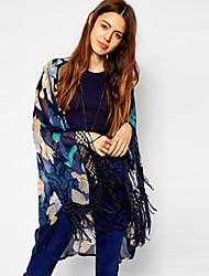 Women's Print Blue T-shirt , Off Shoulder ¾ Sleeve Tassel