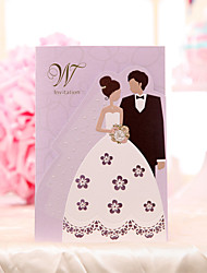 Personalize Wedding Invitation Cards -Purple Bride and Groom (Set of 30)