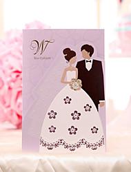 Имя, надпись на заказ Тройной сгиб Свадебные приглашения Пригласительные билеты-30 Шт./набор Жених-невеста Розовая бумага