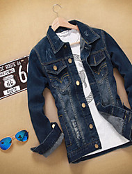 Men's Coats & Jackets , Cotton Blend/Denim Long Sleeve Casual YYZ
