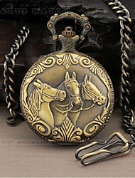 Men's  Watch with three  horse's head Pattern Alloy Analog Quartz Pocket Watch Cool Watch Unique Watch