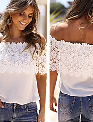 Women's Off-the-shoulder T-Shirts , Lace Sexy/Beach/Casual/Party Short Sleeve Jenny
