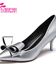 Women's Spring / Fall Heels / Pointed Toe / Closed Toe Patent Leather Office & Career / Casual Stiletto Heel Bowknot Red / Silver