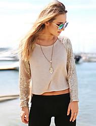 Women's Beige T-shirt , Round Neck Long Sleeve Sequins/Split