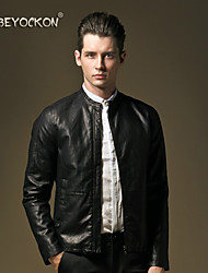 BEYOCKON 2015 men's new leather jacket,The Korean version of slim collar jacket