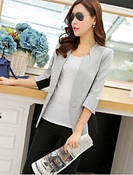 Women's Pocket/Button Coats & Jackets , Cotton Bodycon/Casual Long Sleeve B.L.S