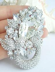 Wedding 2.95 Inch Silver-tone Clear Rhinestone Crystal Bridal Brooch Wedding Deco Bridal Bouquet Wedding Flower Brooch