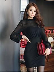 De las mujeres Vestido Mini Escote Chino - Algodón - Manga Larga