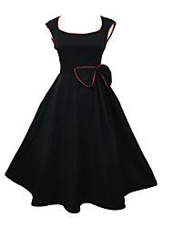 Women's U Neck Dress , Cotton/Elastic Knee-length Sleeveless