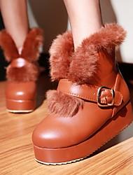 Women's Shoes Black/Brown/Pink/Almond Wedge Heel 3-6cm Boots (PU)