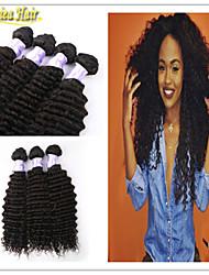 3pcs / lot melhores textura weave profundo do cabelo humano onda brasileira virgem de trama 3 pacotes, 1b #, 8-32 polegadas