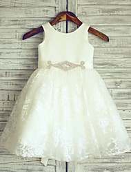 Ivory Beaded Sash Knee-length Flower Girl Dress - Lace Sleeveless