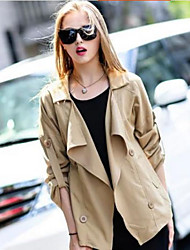 Women's ¾ Sleeve Twill Trench Coat , Casual