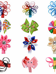 12 Pcs Kanzashi Animal Loop Bow Combination Grosgrain Ribbon Hair Bows Hair Clips Hairbows Allige Clip Handwear AC026