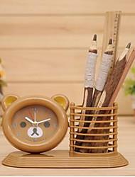 ours heureux pot brosse horloge